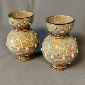 Pair of Sarreguemines Ceramic French Vases