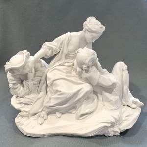 19th Century Sevres Biscuit Porcelain Mother and Children Figure