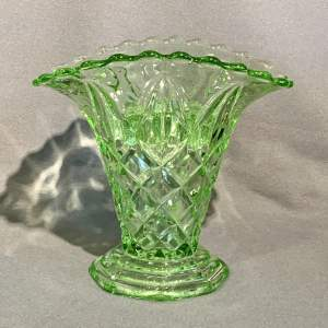 Mid 20th Century Sowerby Green Glass Basket Vase