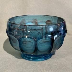 Large George Davidson Blue Cloud Glass Fruit Bowl