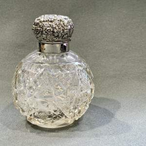Edwardian Cut Glass and Silver Perfume Bottle