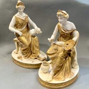 Pair of Naples Capo De Monte Classical Figures
