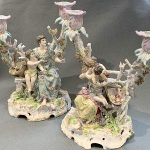 Pair of Early 20th Century Dresden Figural Candelabra
