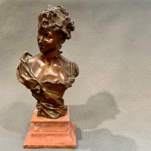 Late 19th - Early 20th Century H E Allouard Bronze Bust
