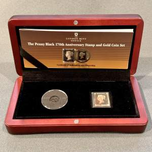 London Mint Office 170th Anniversary Gold Coin and Penny Black