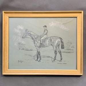 20th Century Terry Shelbourne Sketch of a Racehorse