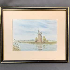 Early 20th Century Watercolour Painting of a Norfolk Water Pump