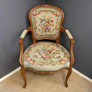 Continental Walnut and Embroidered Chair