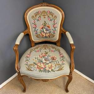 Continental Embroidered and Walnut Chair