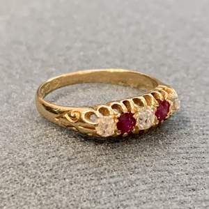 Circa 1900 18ct Gold Diamond and Ruby Five Stone Ring