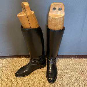 Black Leather Riding Boots and Trees