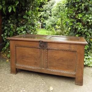 Antique Late 17th Century Small Size Oak Coffer