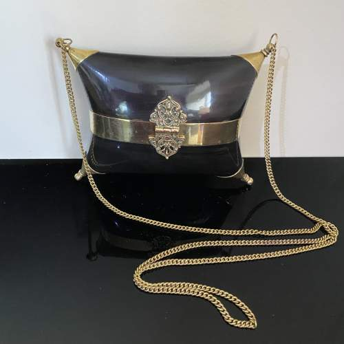 Stunning Evening Bag with Horn and Brass Design image-1