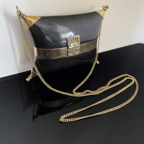 Stunning Evening Bag with Horn and Brass Design image-5