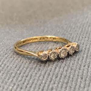 Vintage 18ct Gold and Platinum Five Stone Diamond Ring