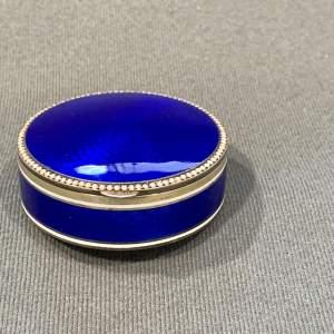 19th Century Blue Enamel and Silver Pill Box