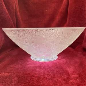 Lalique Ombelles Pattern Large Glass Bowl with Original Label and Box