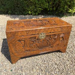 Carved Camphor Wood Oriental  Chest