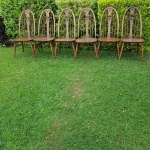 Six Model 876 Beech Swan Back Windsor Ercol Chairs