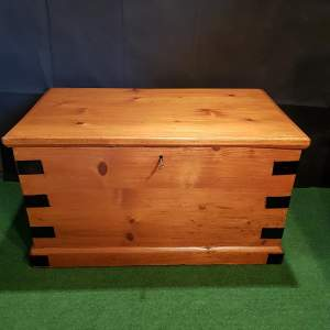 20 Century Pine Metal Edged Storage Box, With Candle Storage