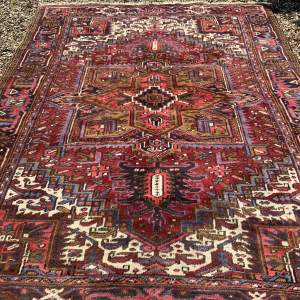 Old Hand Knotted Persian Rug Heriz Superb Colours And Design