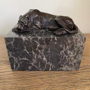 Resting Bronze Tiger Presented on a Marble Base