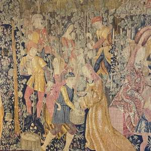 Superb Old French Tapestry Wall Hanging Grape Pressing
