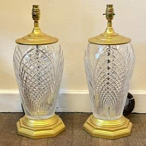 Pair of 20th Century Glass and Metal Lamps