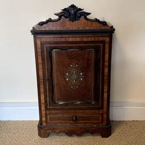 19th Century French Inlaid Miniature Rosewood Armoire