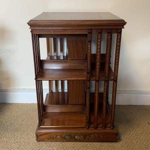 19th Century Painted Satinwood Revolving Bookcase