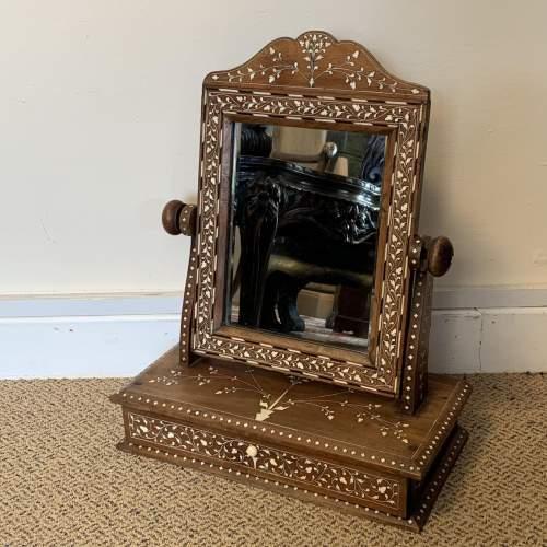 19th Century Indian Punjabi Inlaid Dresser Mirror image-1