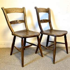 Pair of Victorian Ash and Elm Bar Back Chairs