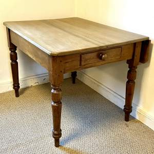 Small Victorian Pine Drop Leaf Dining Table