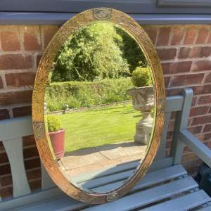 Arts and Crafts Copper and Brass Framed Wall Mirror