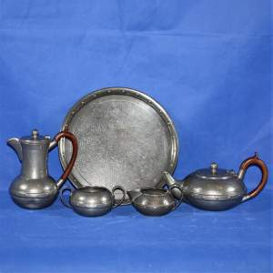 1930s Harlequin Planished Pewter Tea or Coffee Set
