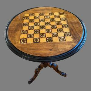 A Victorian Mahogany Tripod Table with Inlaid Chequer Board Top