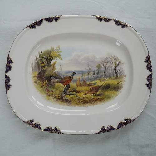 Large Victorian Royal Worcester Dated 1898 Hand Painted Platter image-1