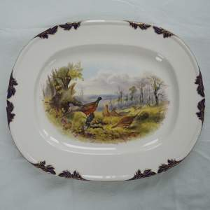 Large Victorian Royal Worcester Dated 1898 Hand Painted Platter