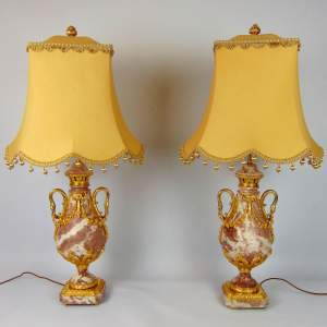 A Fine Pair of Large Marble Table Lamps