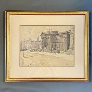 Watercolour of Walker Art Gallery Liverpool by E J Whineray