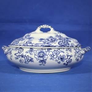 Losol Tokio Blue and White Lidded Serving Bowl  Circa 1912