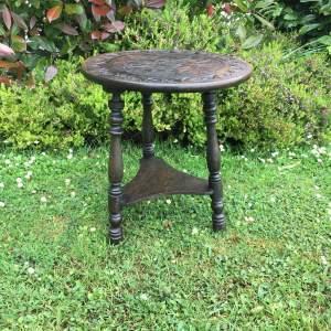 Small Carved Oak Cricket Table Circa 1870