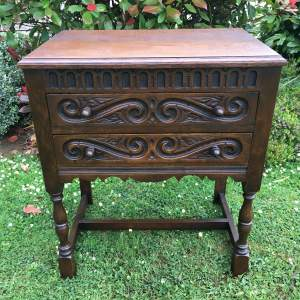Carved Oak Front Chest of Drawers