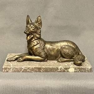 Art Deco Bronze of an Alsatian Dog on a Marble Plinth
