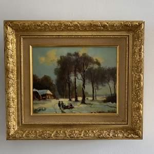 Winter Scene - Signed Oil on Canvas