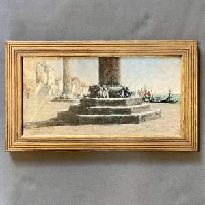 19th Century George Sherwood Hunter Venetian Scene Oil on Canvas