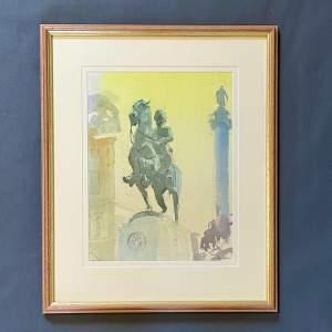 John Baston Watercolour Painting of Trafalgar Square