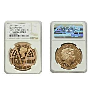 1901 2001 Victorian Anniversary Gold Proof Five Pounds.