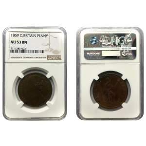 1869 Victoria One Penny (NGC AU53)