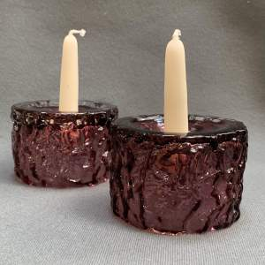 Whitefriars Glass Pair Of Candle Holders
